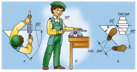 Положение рук и ног при работе напильником