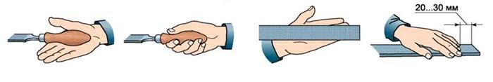 Положение рук на напильнике