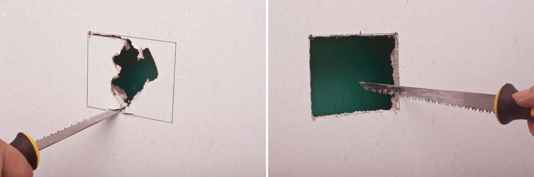 Вырезаем квадрат в гипсокартонном листе