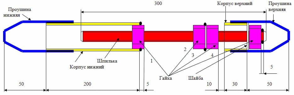 Схема устройства натяжного механизма